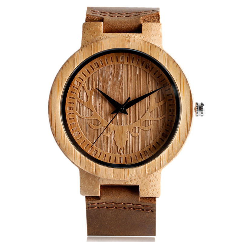 Hot Sale New Creative Elk Deer Head Men Quartz Wood Watch Genuine Leather Strap Fashion Hand-made Wooden Watches Gift for Xmas