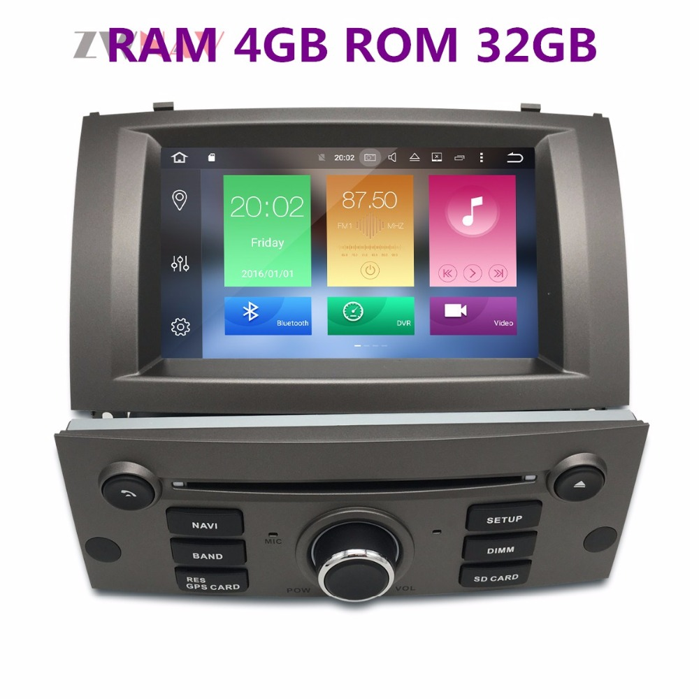 Android 8.1 8 Core RAM 4GB ROM 32GB 2 Din Car GPS Navigation Radio Screen Android System For Peugeot 407 2004-2010 купить в Москве 2019