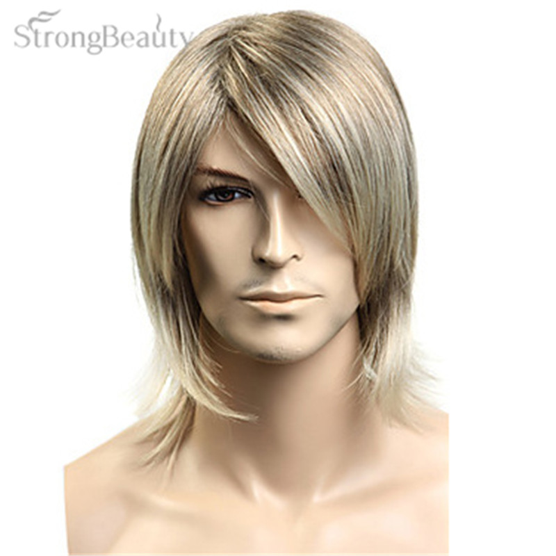 Strong Beauty Synthetic Hair Blonde Straight Wig Men