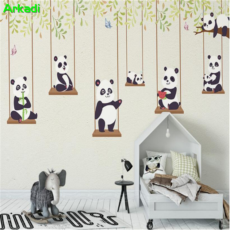 Us 13 76 26 Off Custom Cartoon Theme Panda Children S Room Wallpaper Nursery Playground Background Bedroom Mural In Wallpapers