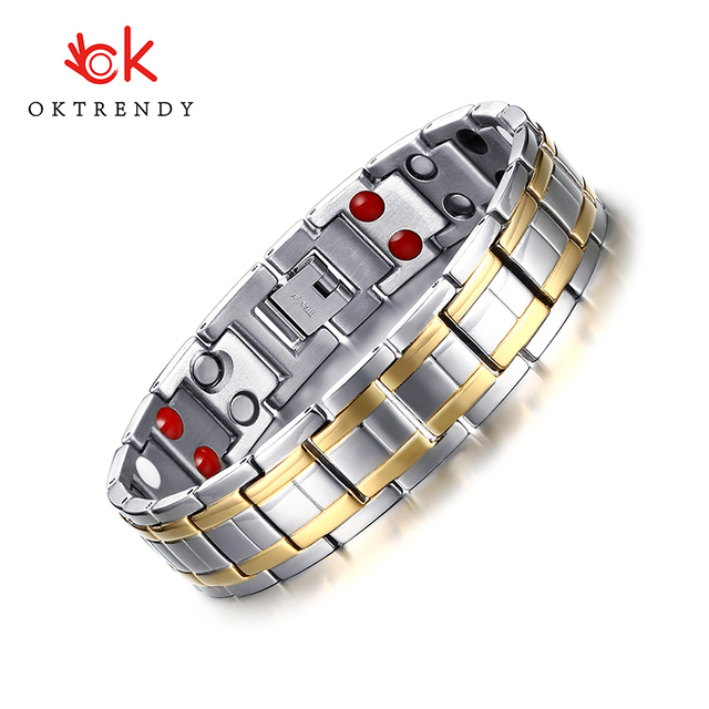 Oktrendy Stainless Steel Healthy Magnet Bracelet Men Jewelry Bio Energy Magnetotherapy Father Or boyfriend Birthday Gift