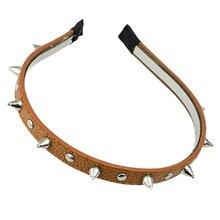 2017 NEW Fashion Headband Spike Rivets Studded Band Party Punk Hair Band (Brown)