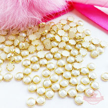 Wholesale ! Hot Sale 3D Nail Art Gold Metal pearl White Alloy Rhinestone Studs 4MM,200pcs,500pcs, 1000pcs, 2000pcs