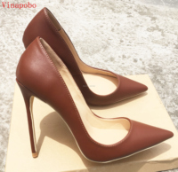 Vinapobo New Brown Matte High Heels Shoes Women Shallow Pumps High Heel 12cm Pointed Stiletto Leather Single Ladies wedding Shoe