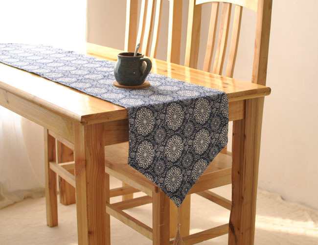 Vintage Burlap Cotton Linen Ethnic Bohemian Rustic Table Runner Home Decor