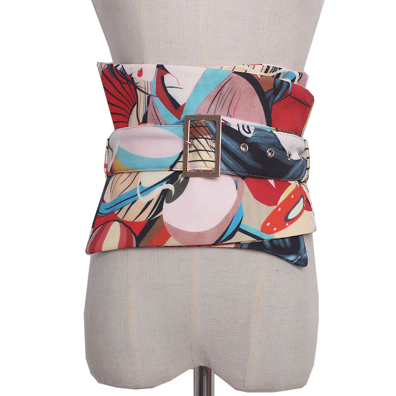 Printed Cummerbund Women Fashion Bandage Bow Tie Wide Belts For Women Dress Self Tie Corset Bow Strap Ladies Japanese Belt