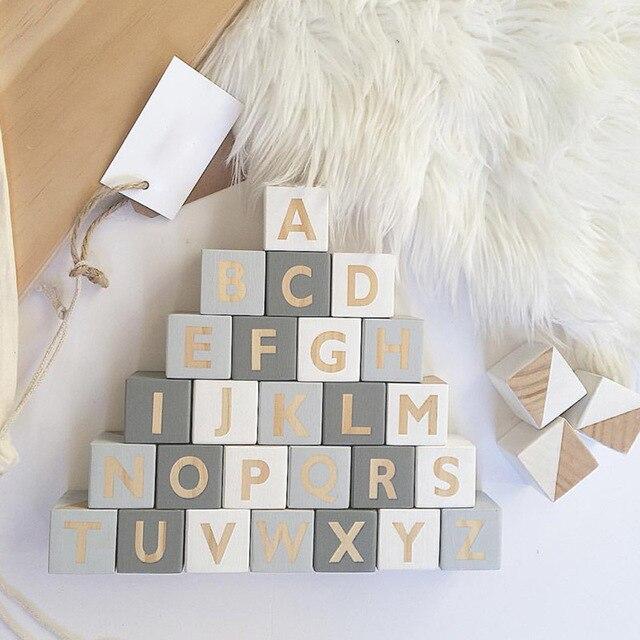 Style nordique lettres en bois Alphabet bébé nom blocs pour pépinière chambre Photo Shoot décor nouveau-né souvenir cadeau blanc rose