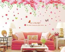 large romantic pink sakura wall stickers mural home decor cherry blossoms tree wall decal home living room decoration(China)