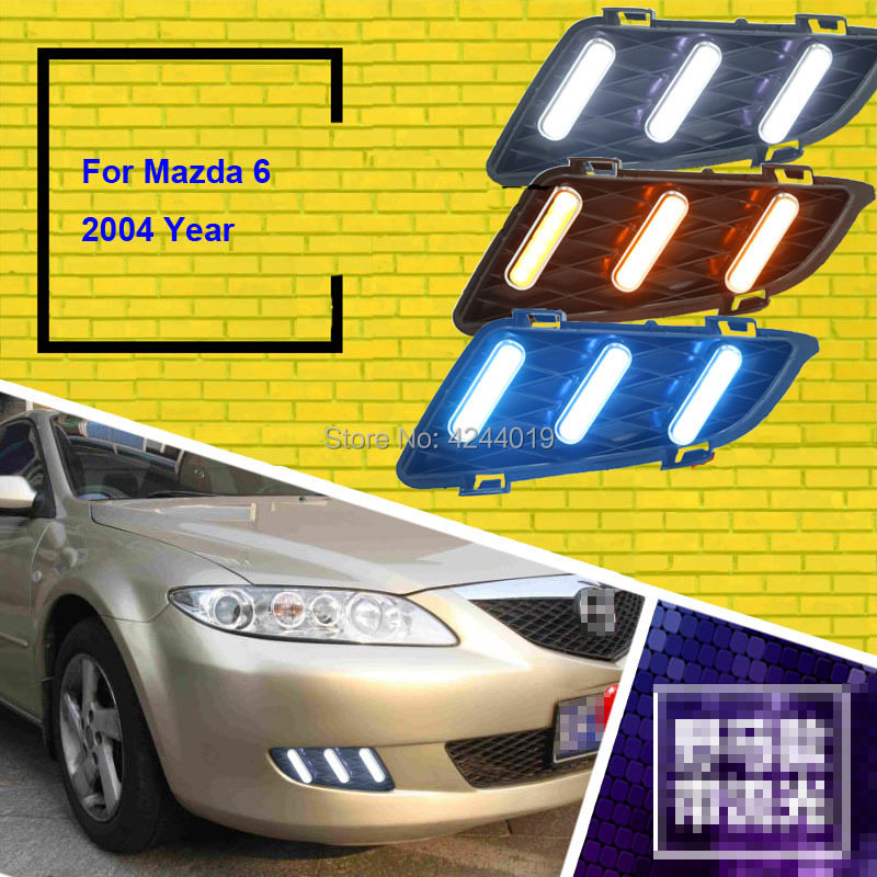 цена на Fits 2004 Mazda 6 Day Light Fog Lights Fog Lamps LED Driving Light DRL Daytime Running Lights Yellow Turn Signal