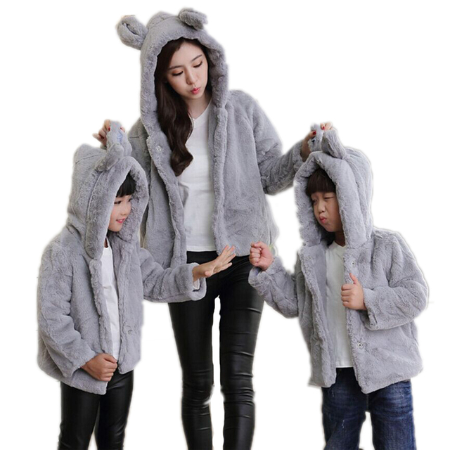 2017 Mother and daughter clothes matching mother daughter clothes winter faur fur coats rabbit ear kid fur jackets family look