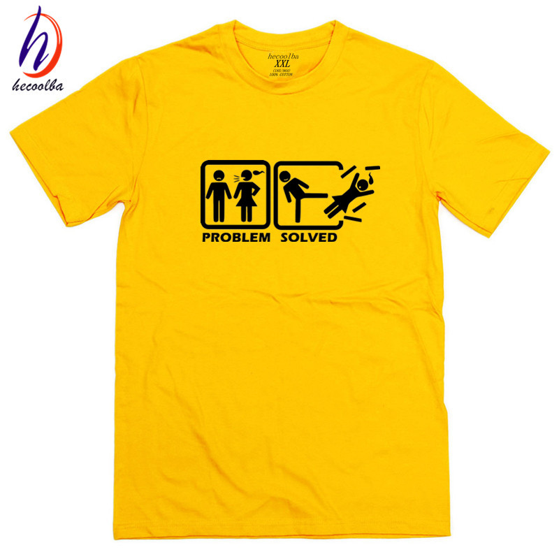 Us size 100 cotton men problem solved funny t shirts good for Good quality cotton t shirts