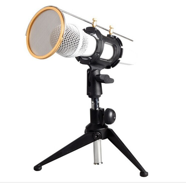 High Quality Universal Handled Condenser Computer Microphone Shock Mount with Wind Screen Suspension mount with Hot shoe