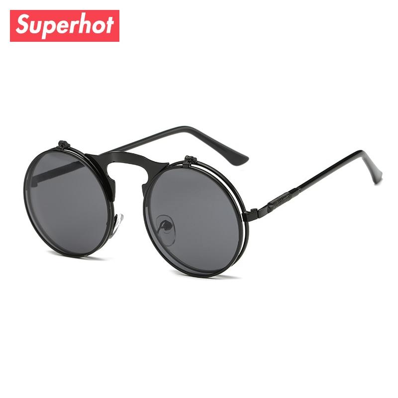 7c1652a96423 Superhot Eyewear - Round Flip Up Steampunk Sunglasses Men Women Punk Sun  glasses Metal Retro Vintage