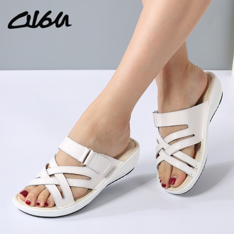 O16U women sandals Shoes Leather flat Sandals Low Heel Wedges Summer women Open Toe Platform Sandalias ladies gladiator sandals gift for boyfriend on anniversary