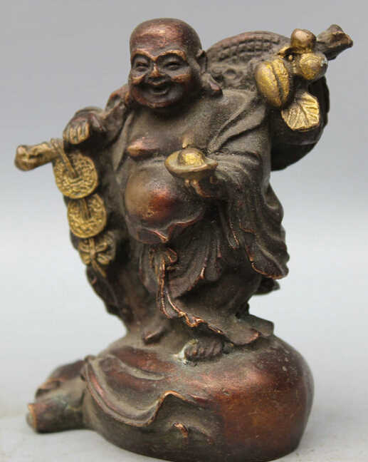 Çin Bronz Standı Para Çantası Servet Mutlu Laugh Maitreya Buddha Zengin Heykeli S0705 Indirim 35%