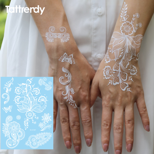 India Metallic Flash Tattoo White Lace Temporary Stickers Sexy Waterproof Tattoos Body Leaves PendantsFake Tattooing S1007