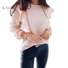 4a5759461abf80 Laamei 2018 Spring Autumn Summer Lady s Blouse Lace Hollow Out Chiffon  Blusas Sexy Tops O-Neck Long Sleeve Ruffles Causal Shirts