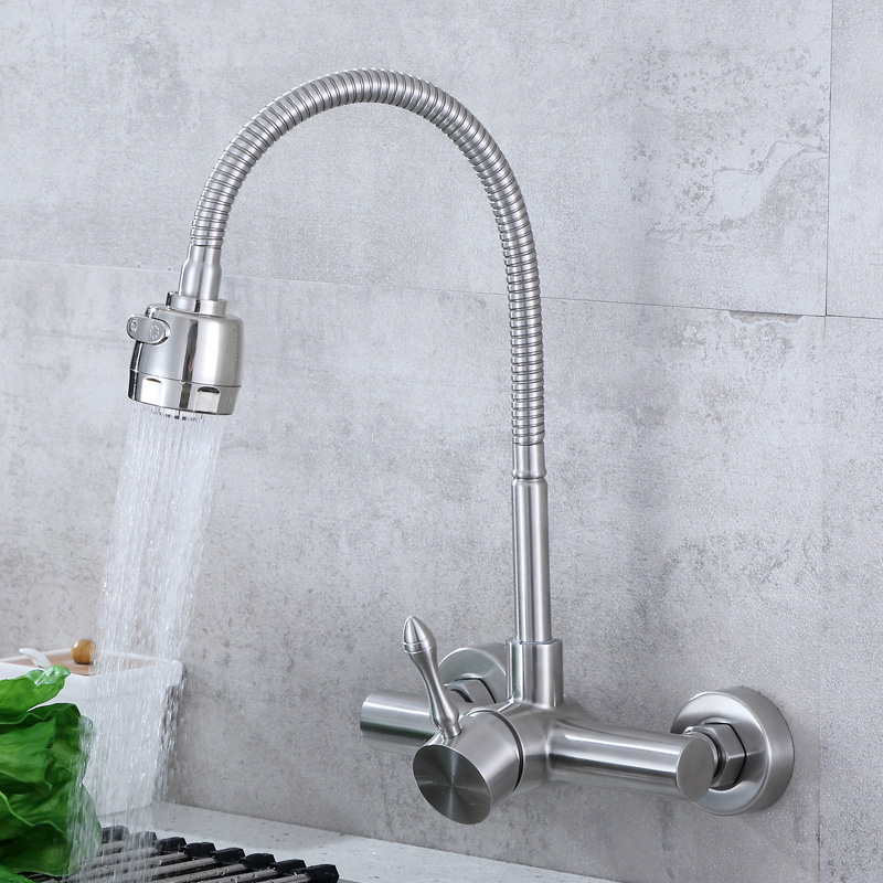 Kitchen washing basin, balcony 304 stainless steel wall universal rotary hot and cold mixer sprinkler water tap sink faucet hot sale 304 stainless steel bathroom faucet knob shell hot and cold kitchen faucet basin sink mixer tap flg20031ss