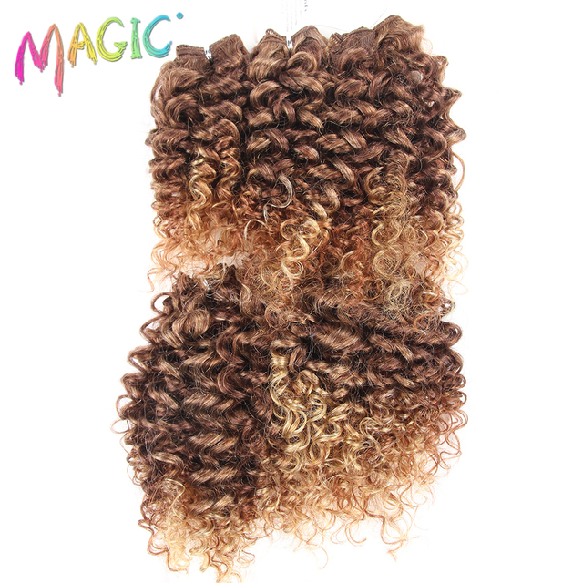 Magic 14 18inch Kinky Curly Hair Weave Synthetic Hair Bundles Sew In