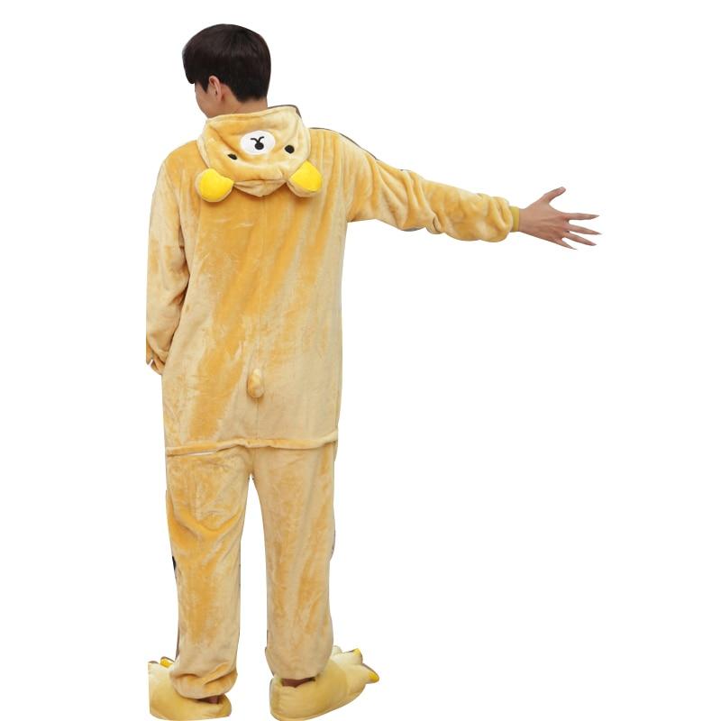 Kawaii Flannel Pijama kigurumi For men Minion Panda Tiger Giraffe Onesie Adult Sleepwear Couple Pyjamas Halloween Party Jumpsuit (8)