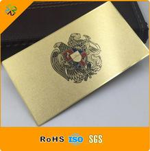 Factory wholesale high quality customized logo gold metal business card