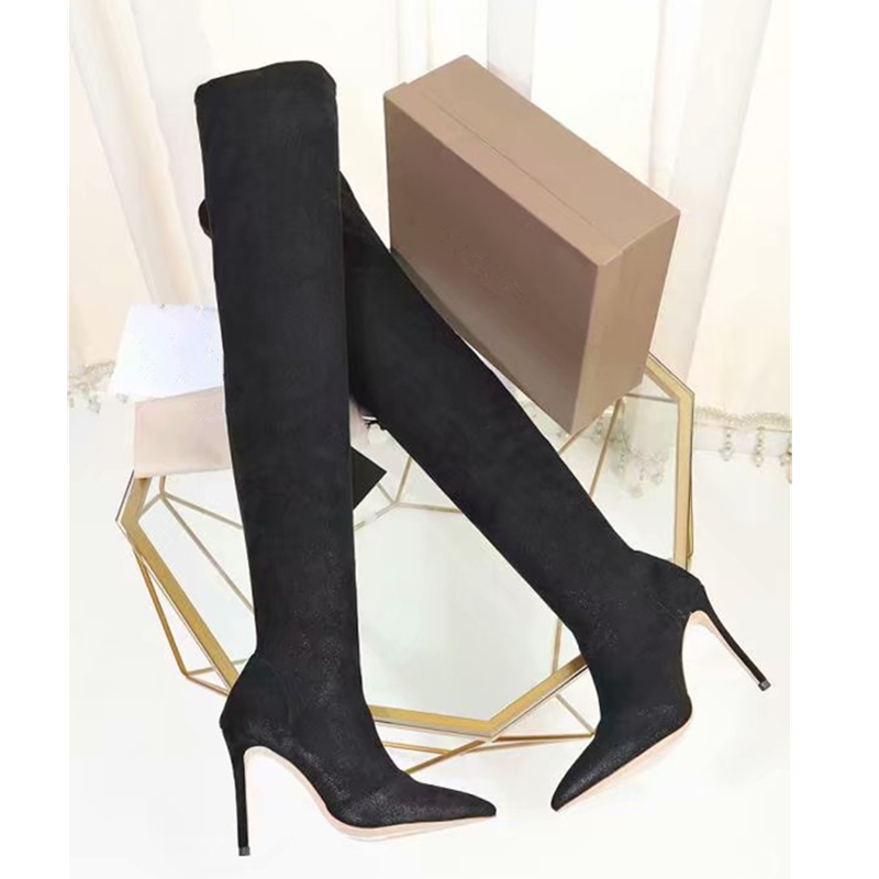 Thigh High Boots Female Winter long Boots Women Over the Knee Boots Stiltto High Heels Stretch Sexy Fashion Shoes 2018 Black 41 high heels over the knee long boots women sexy boots heels snow long boot winter shoes zip thigh high boots platform shoes