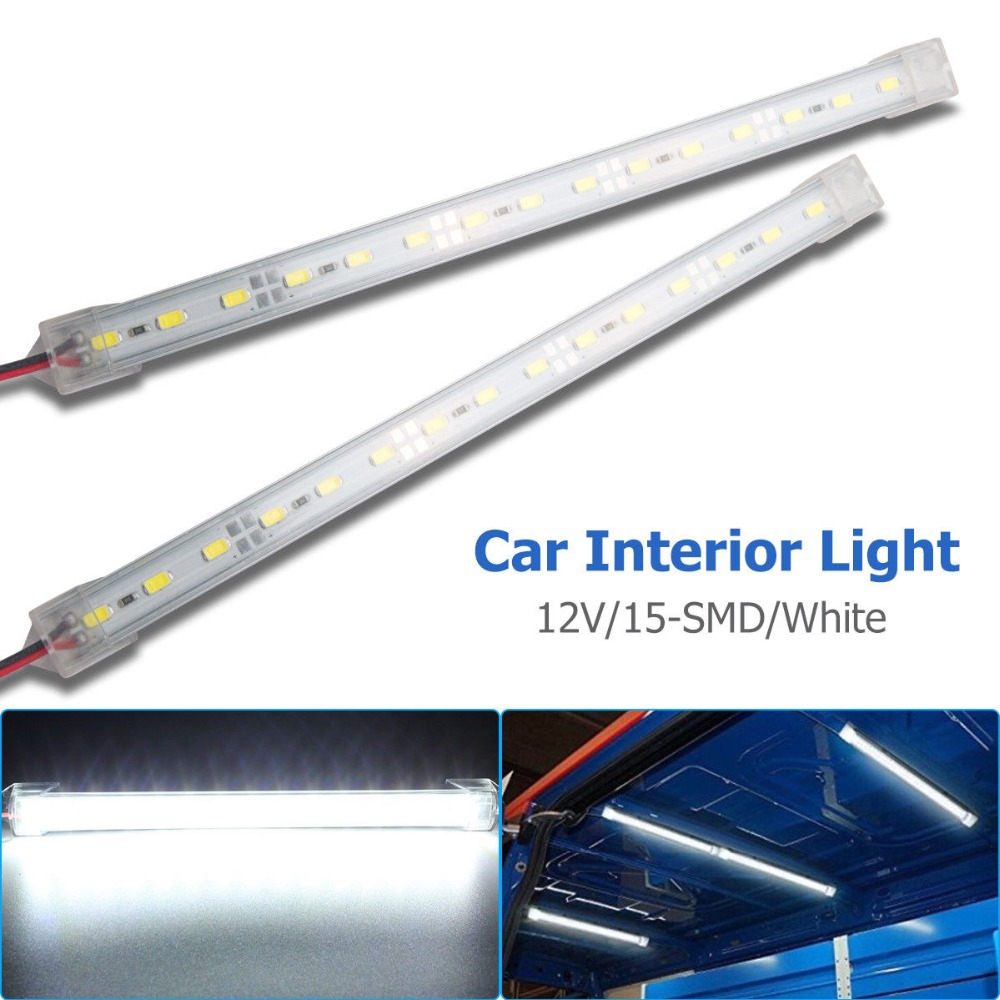 2x 15 LED Car Interior White Strip Lights Bar Lamp Car Van Caravan Boat Home 12V