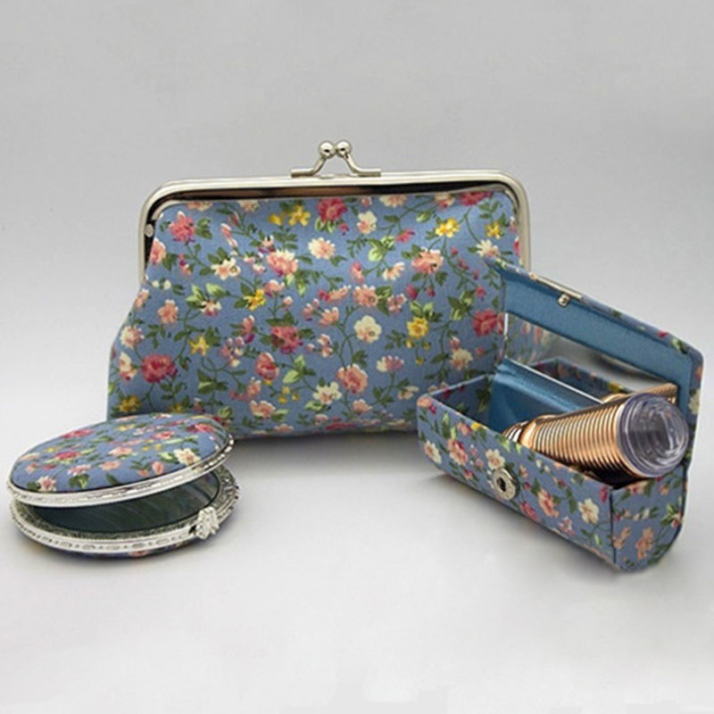 Cloth Lipstick Case Make-up Three-Piece Chinese-Style Gift Lipstick Case Make-up Mirror Set Multi-Color Optional