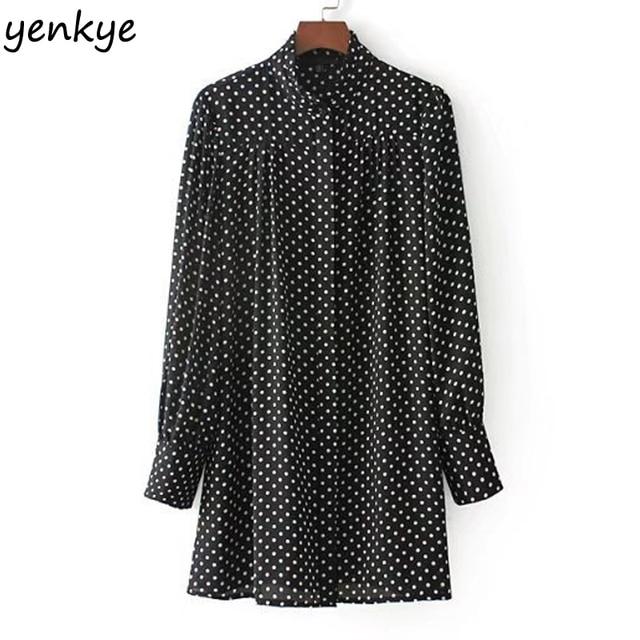 2825962c25e Vintage Polka Dot Shirt Women Blouses Long Sleeve Stand Collar Plus Size  Casual Blouse Chemise Femme CCWM8453