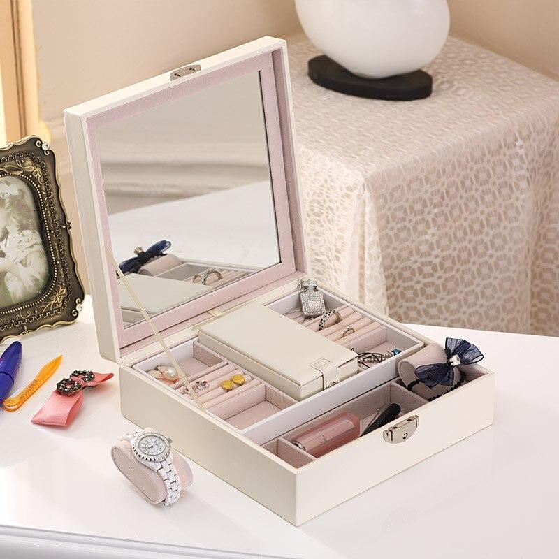 Boîte de rangement de bijoux en bois massif et étui à cosmétiques en cuir organisateur de maquillage dames montre boucles d'oreilles anneau conteneurs portables