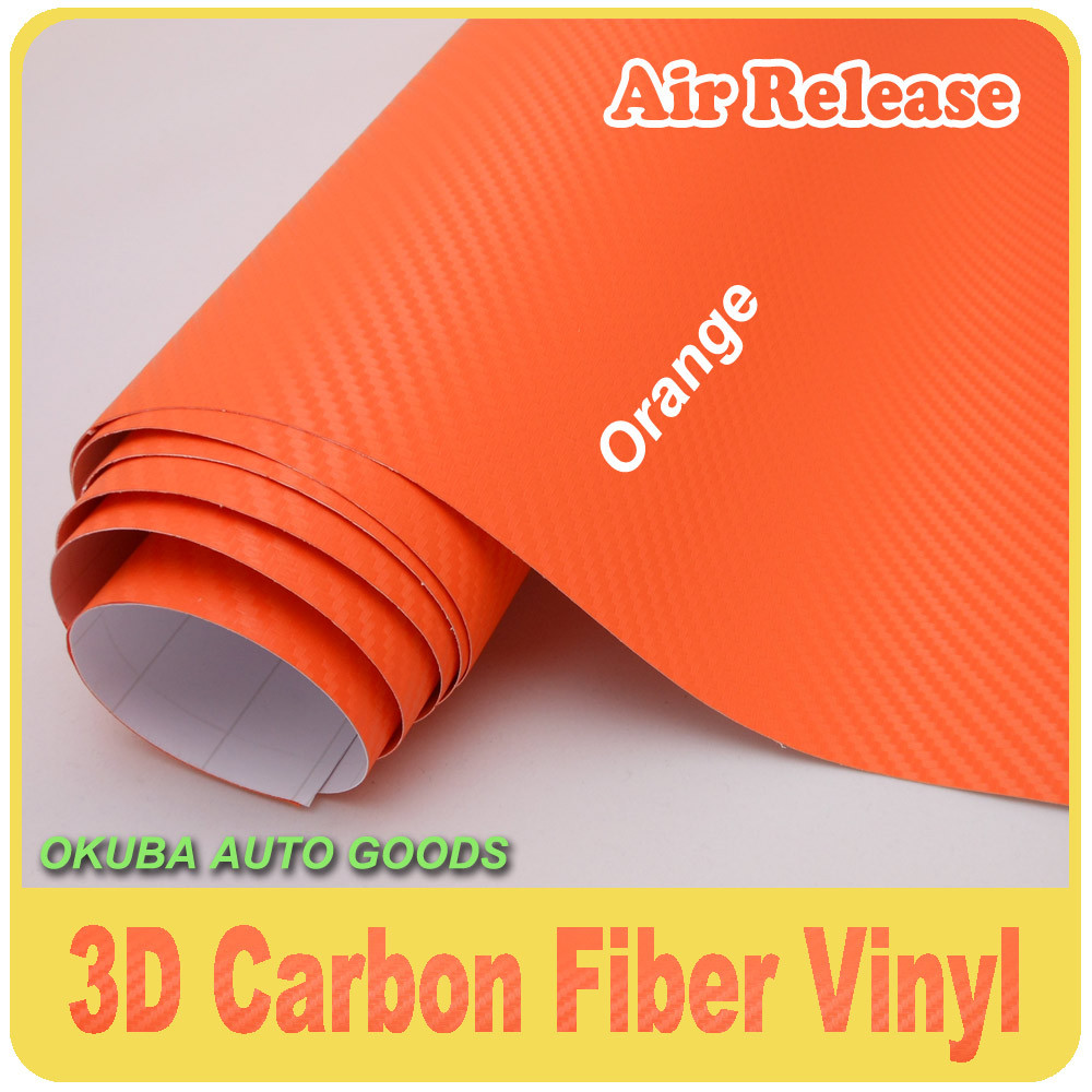 Air Release Orange 3D Carbon Fiber Vinyl 0 13mm Thickness Free shipping size 1 52 30m