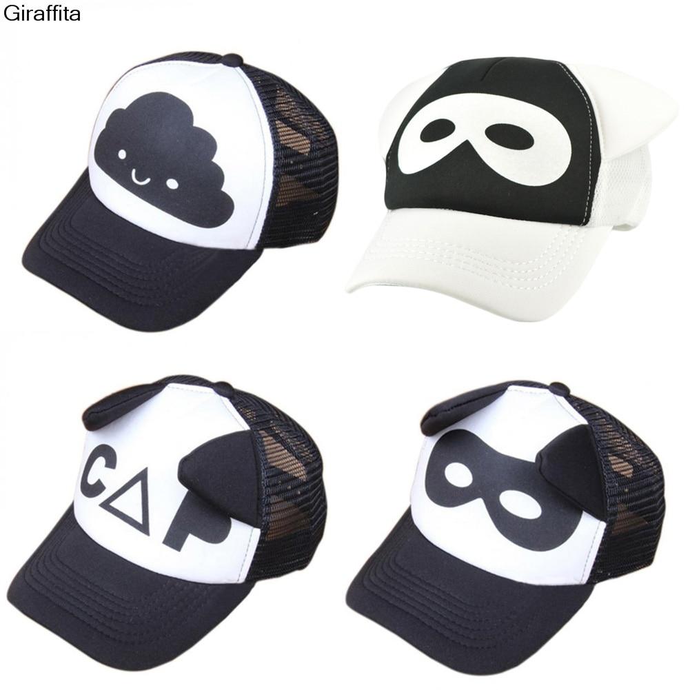 Apparel Accessories Men's Hats Giraffita Kid Letter Cloud Mask Print Cap Spring Summer Baby Boys Girls Baseball Caps Casual Adjustable Hip-hop Snapback Sun Hat
