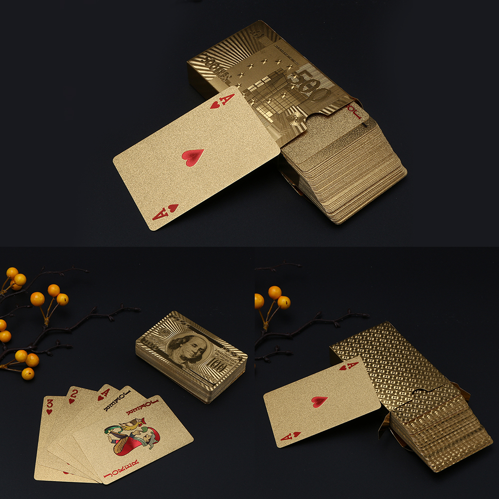 24k Gold Plated Poker Playing Cards With Wooden Box Christmas Plastic Board Games Playing Cards For Gift