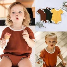 US Stock 0-3T Newborn Baby Boy Girl Sleeveless Solid Button Cotton Bodysuit One Piece Jumpsuit Outfit Summer Clothes summer fashion baby boys halloween one piece bodysuit mommy s little nightmare print baby gentleman jumpsuit clothes outfit ds9