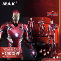 Collectible PPS003 Full Set Figure Civil War America Captain 3 Iron Man Mk46 Mark XLVI Power Pose Figure 1/6 Scale Figure