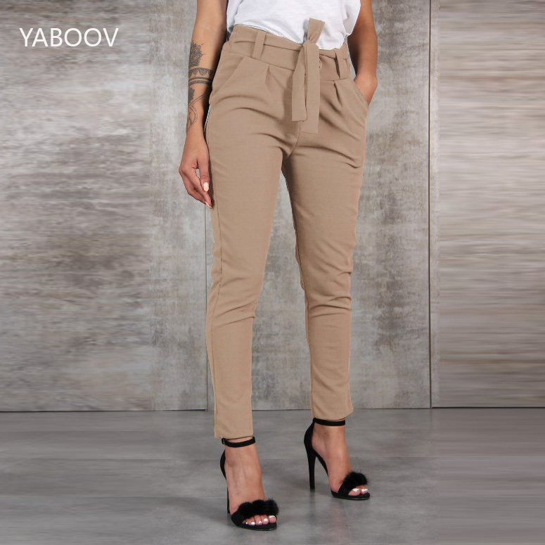 2019 Summer Ladies Cargo   Pants     Capris   Women's Casual Stretchy Skinny Mid Waist Long Pencil   Pants   with Sashes