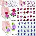 1 hojas Con Encanto Flores Nail Art Calcomanías de Transferencia de Agua de Impresión de Uñas Pegatinas de Uñas Salon DIY Decoración Manicura Herramientas
