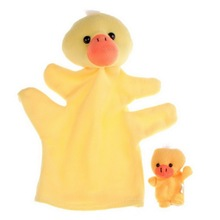 1 Pair Yellow Duck Hand Puppet Finger Puppet Animal Glove Puppet Hand Dolls Plush Toy