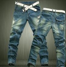 High street new trend men trousers personality stitching wear nightclubs men street tide male holes Slim jeans HN1328