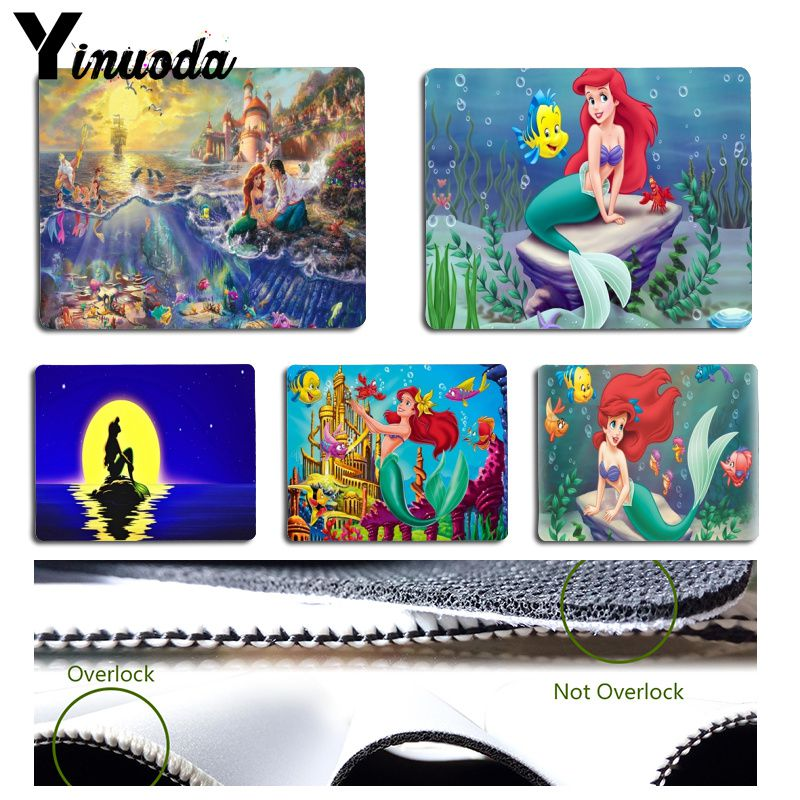 YinuodaPrincess Ariel Little Mermaid Gamer Speed Mic Retail Small Rubber Mousepad Size for 180x220x2mm and 250x290x2mm Mousepad