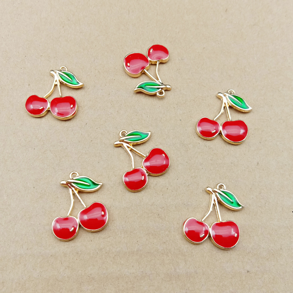 10pcs 16x19mm enamel cherry charm fruit for jewelry making earring pendant bracelet and necklace charms(China)