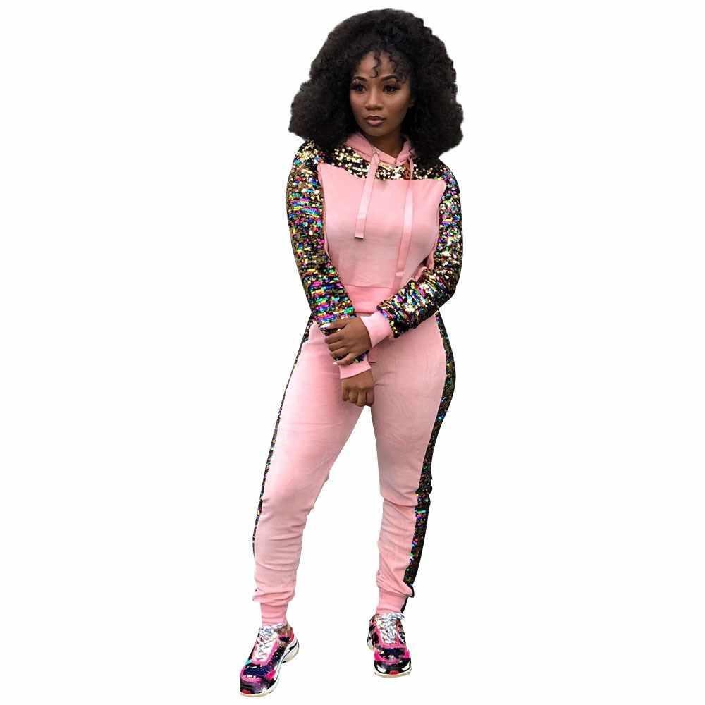 パッチワークスパンコールトラックスーツカジュアル女性 2 ピーススエットシャツトップとパンツピンク衣装 Sweatsuits 2 枚組