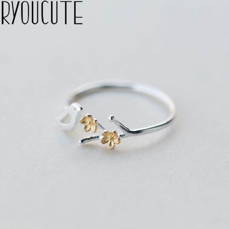 RYOUCUTE 100% Real 925 Sterling Silver Jewelry Fashion Cute Bird Flower Rings For Women Bijoux Statement Antique Ring Anillos