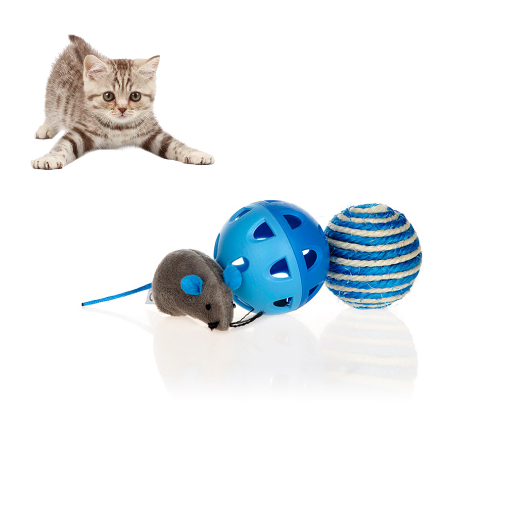 Petacc 3PCS 3 in 1 Multifunction Cat Toy Set Interactive Mice Cat Toy Durable Pet Chew Toy with Bell Ball