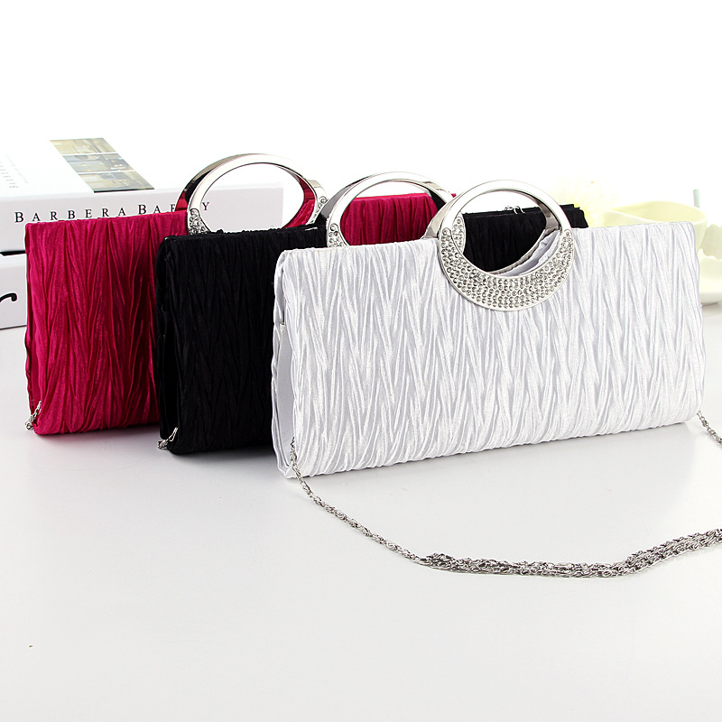 Fashion Women Satin Rhinestone Evening Clutch Bag Chain Handbag Purse  Bridal Wedding Party Bags BS88 538cbbb36517