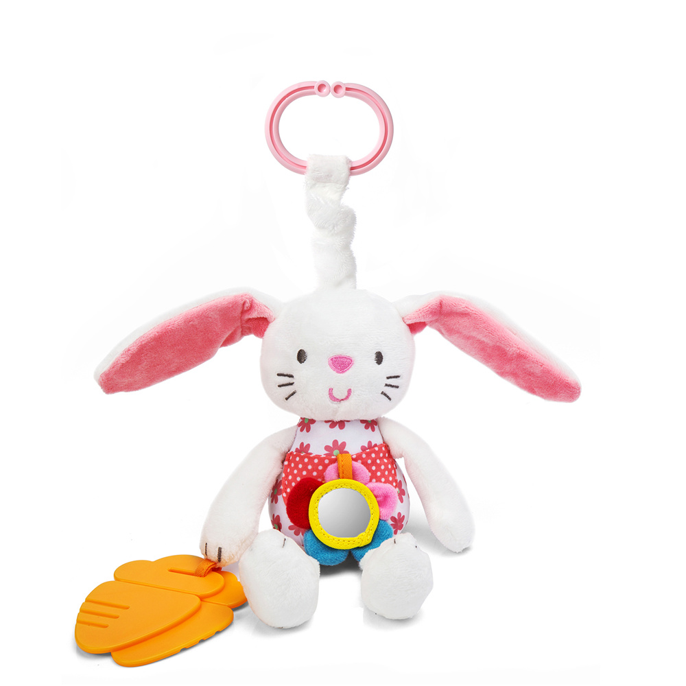 0+ Soft Rabbit Baby Plush Doll Baby Rattle Ring Bell Crib Bed Hanging Animal Toy Teether Multifunction Doll Kids Toy WJ265 mini baby elephant plush toy sounding musical rattle baby toy soft educational plush toy