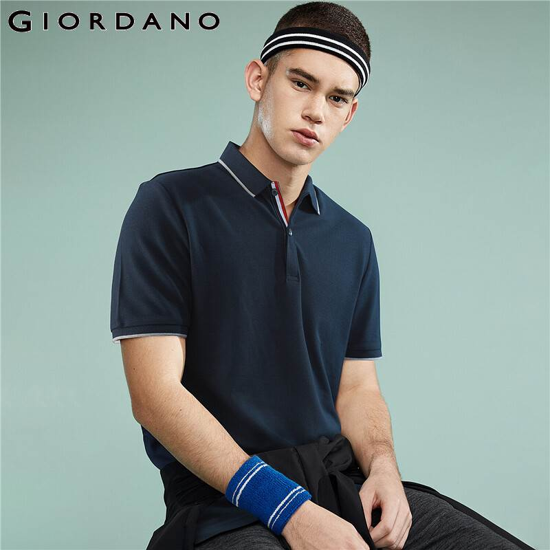 Giordano Men   Polo   Shirt Men Pique Fabric Slim Fit Short Sleeves Contrast Color   Polo   Men Shirt Smooth Durable Camisa   Polo