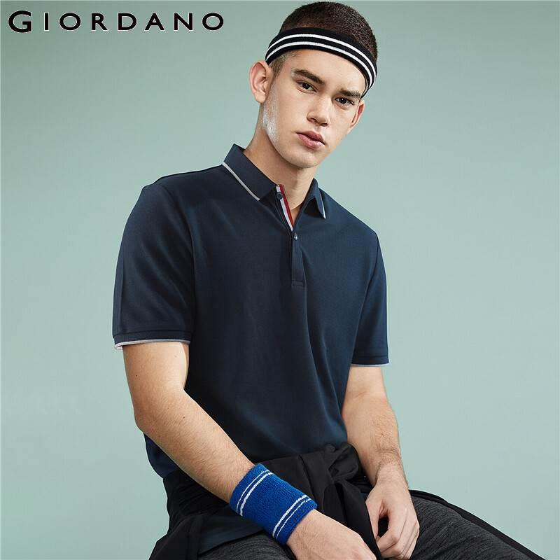 Giordano Men   Polo   Shirt Men Pique Fabric Slim Fit Short Sleeves Contrast Color   Polo   Men Shirt Smooth Durable Camisa   Polo