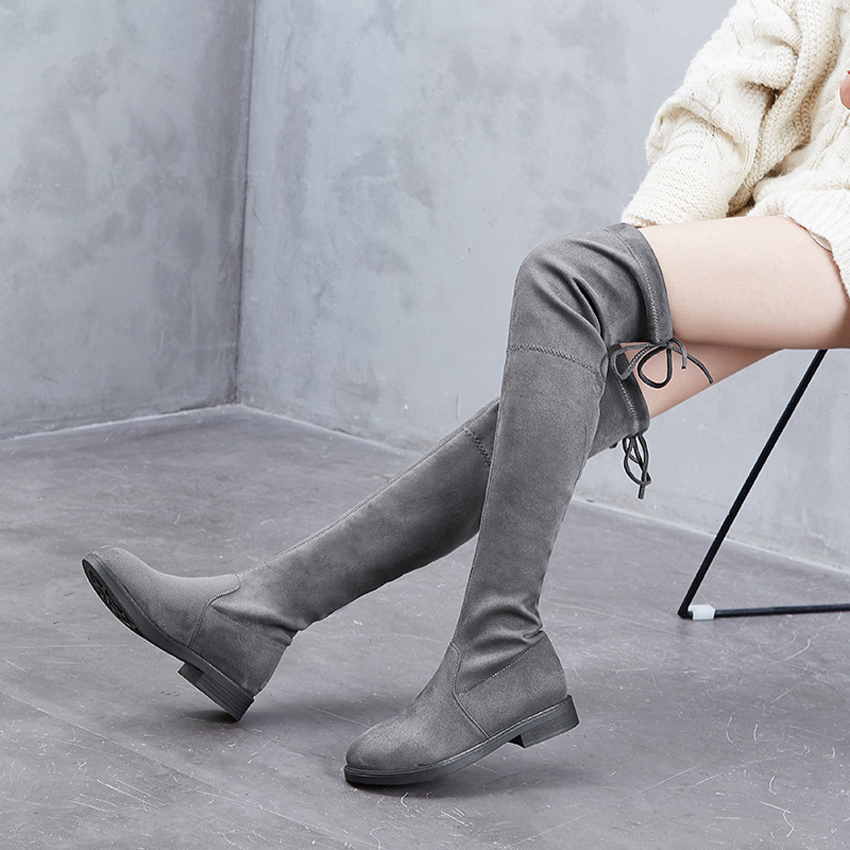 2019 New Fashion Women Boots Black Gray Over the Knee Boots Thigh High Boots Long Boots Spring Autumn Lady Shoes Woman Footwear in Over the Knee Boots from Shoes