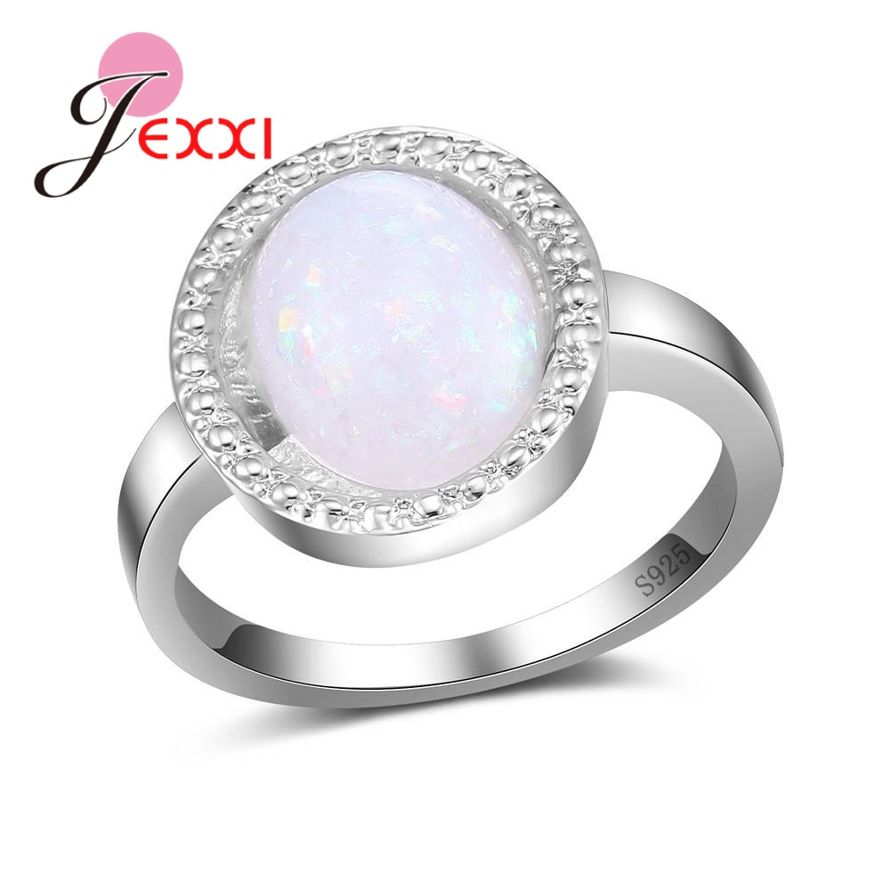 JEXXI Romantic Women Rings With Pink Opal Stone Sterling 925 Silver Accessories Pretty Wedding/Engagemnt Promise Jewelry Ring
